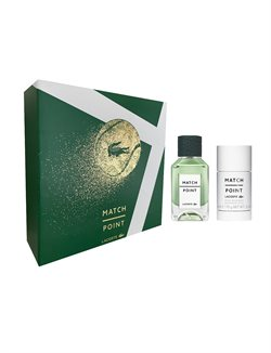 Lacoste Match Point Eau de Toilette 50 ml.  + Deodorant stick 70 ml i Flot Gaveæske